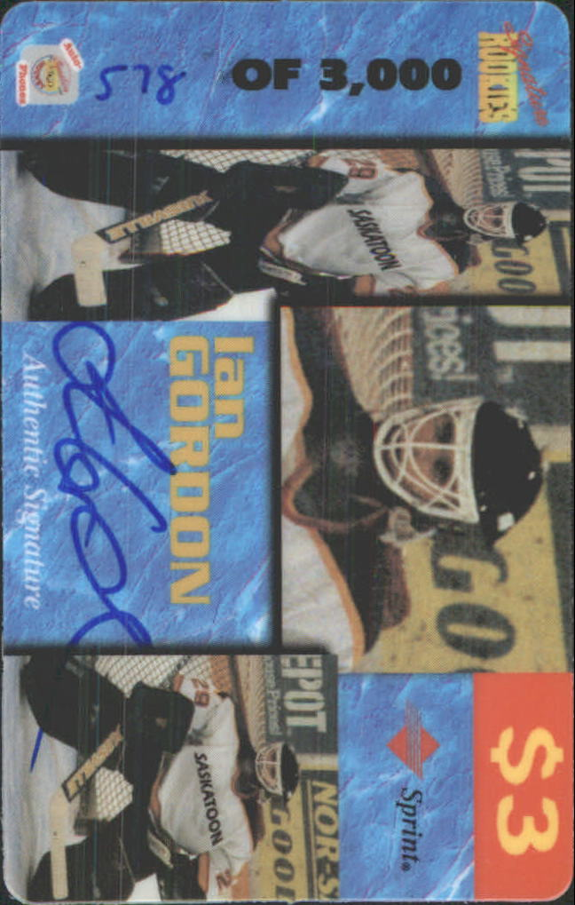 1995 Signature Rookies Auto-Phonex Phone Cards #16 Ian Gordon