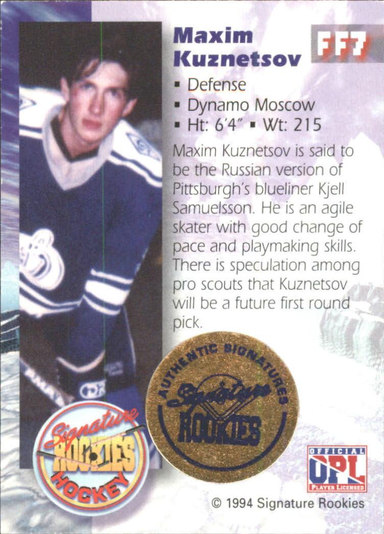 1995 Signature Rookies Future Flash Signatures #FF7 Maxim Kuznetsov back image