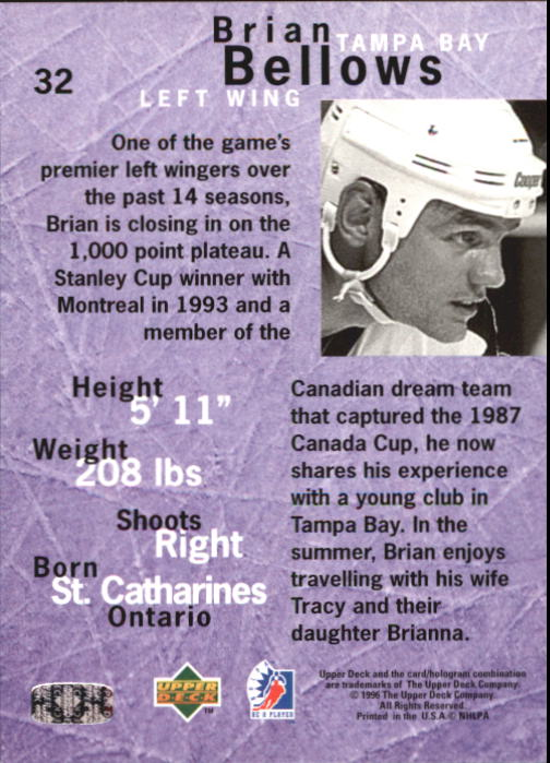 1995-96 Be A Player #32 Brian Bellows back image