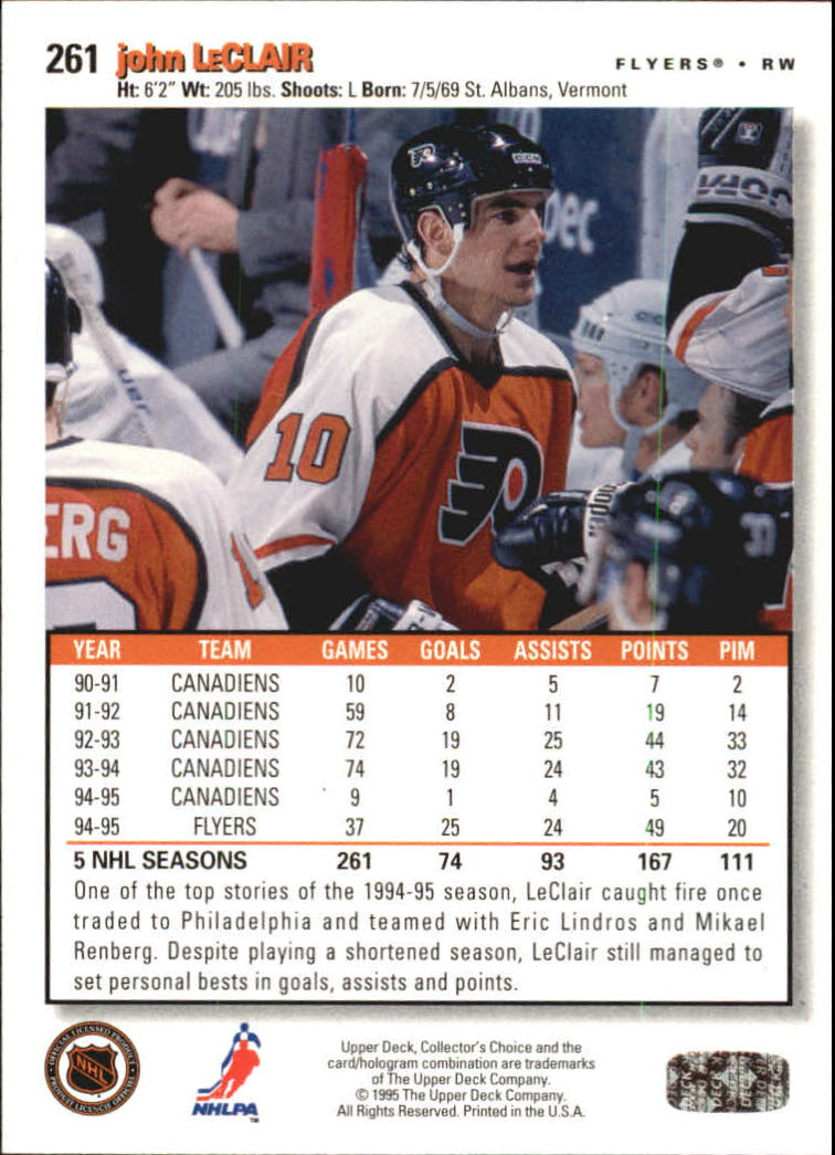 1995-96 Collector's Choice Player's Club #261 John LeClair back image