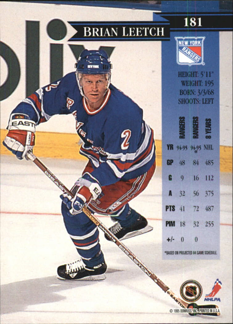 1995-96 Donruss #181 Brian Leetch back image