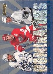 1995-96 Donruss Dominators #5 Doug Gilmour/Wayne Gretzky/Sergei Fedorov