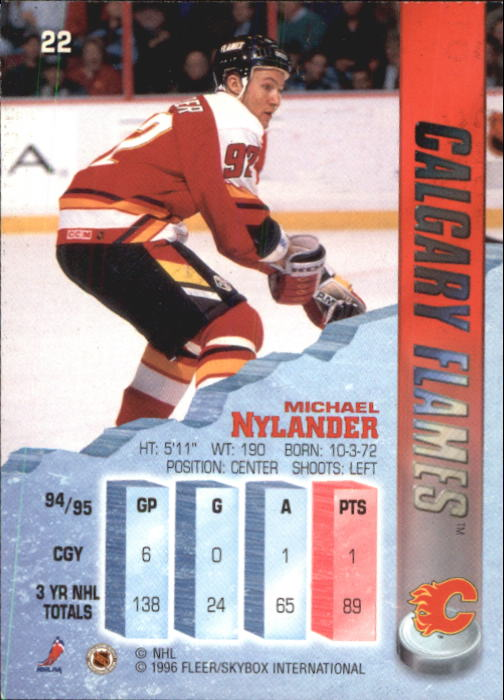 1995-96 Metal #22 Michael Nylander back image