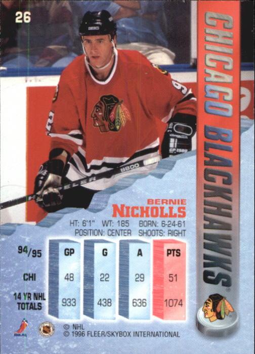 1995-96 Metal #26 Bernie Nicholls back image