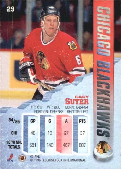1995-96 Metal #29 Gary Suter back image