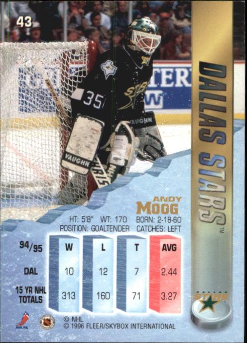 1995-96 Metal #43 Andy Moog back image