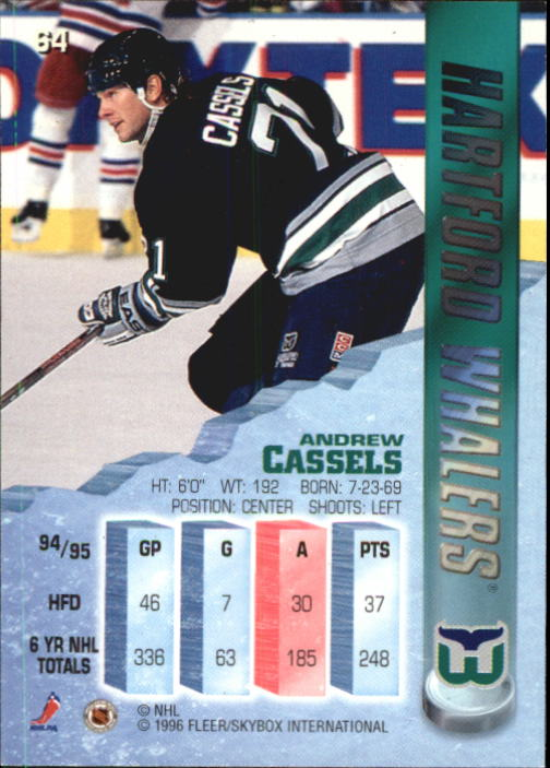 1995-96 Metal #64 Andrew Cassels back image