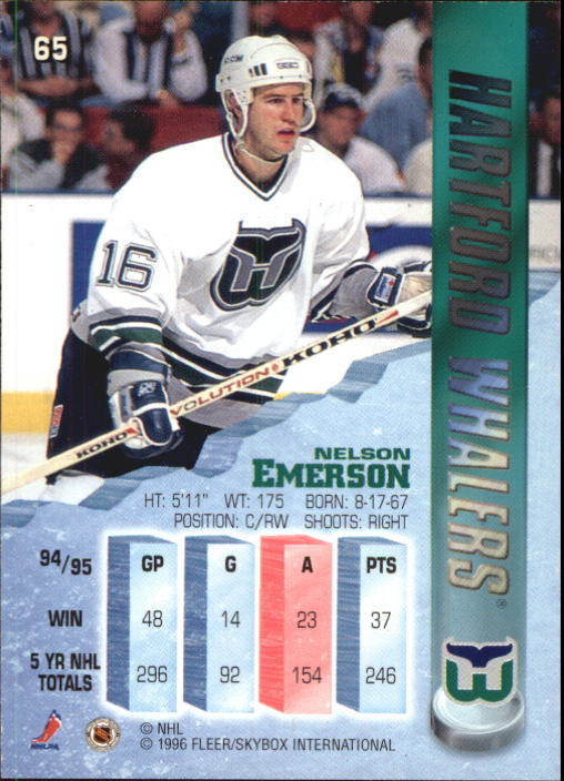 1995-96 Metal #65 Nelson Emerson back image