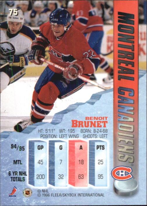 1995-96 Metal #75 Benoit Brunet back image