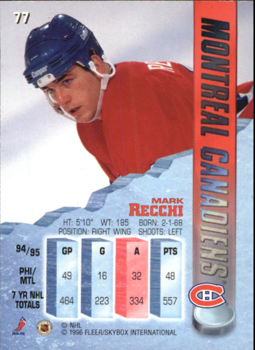 1995-96 Metal #77 Mark Recchi back image