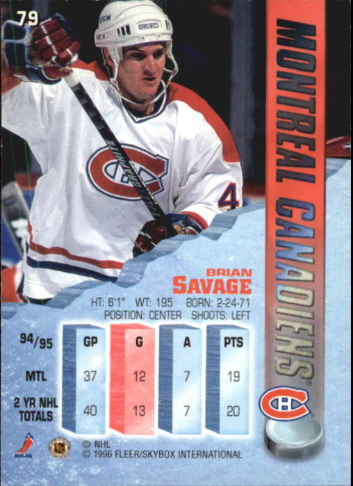 1995-96 Metal #79 Brian Savage back image