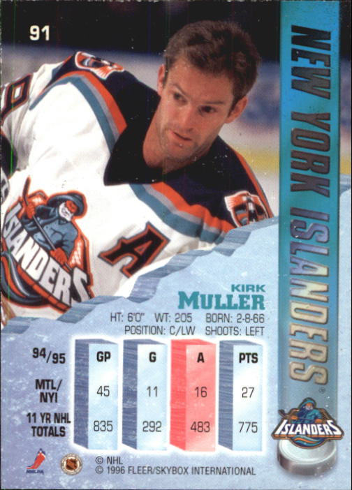 1995-96 Metal #91 Kirk Muller back image