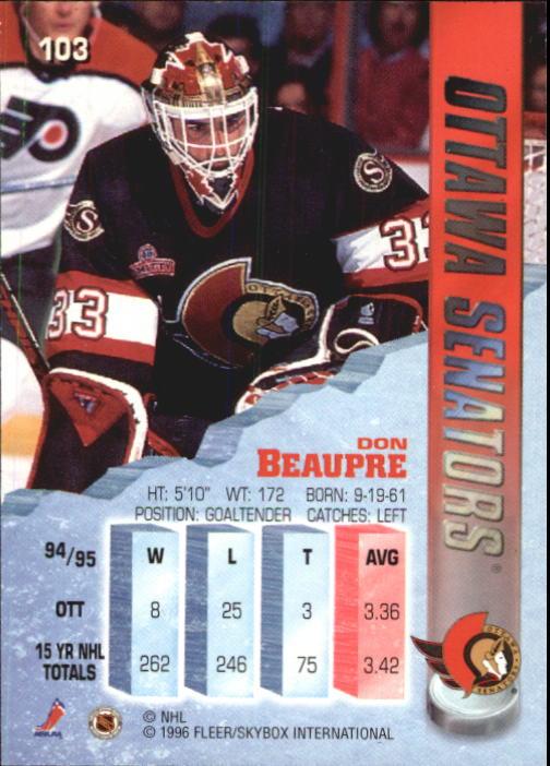 1995-96 Metal #103 Don Beaupre back image