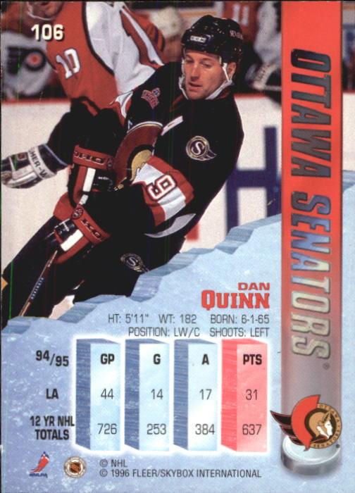 1995-96 Metal #106 Dan Quinn back image