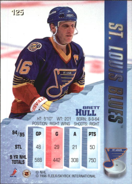 1995-96 Metal #125 Brett Hull back image