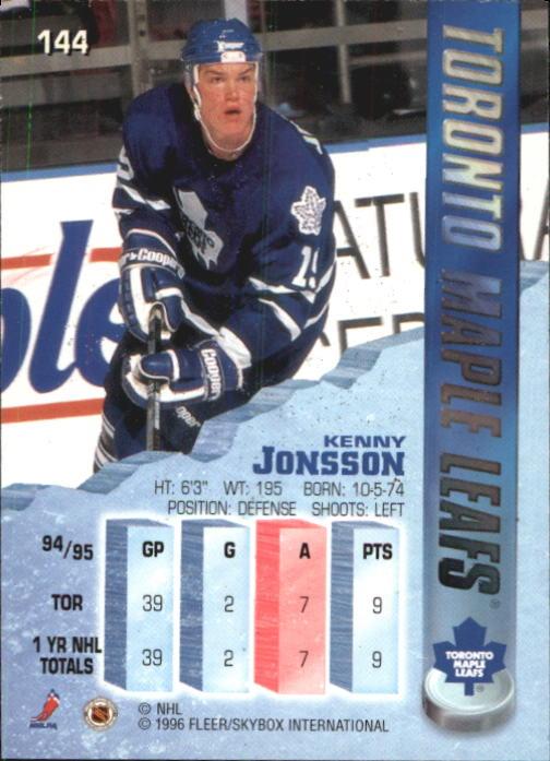 1995-96 Metal #144 Kenny Jonsson back image
