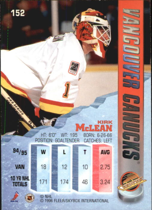 1995-96 Metal #152 Kirk McLean back image