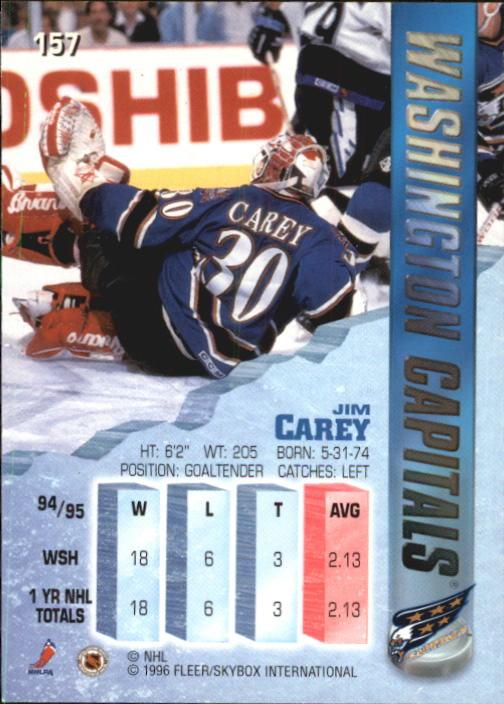 1995-96 Metal #157 Jim Carey back image