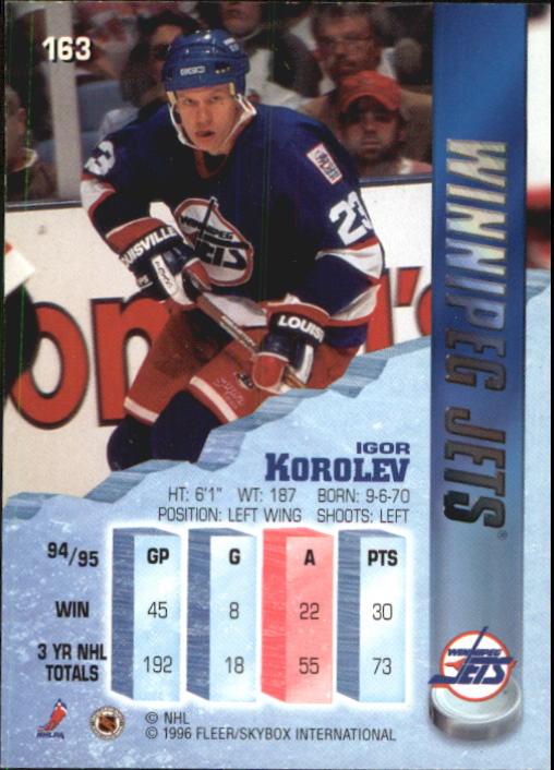 1995-96 Metal #163 Igor Korolev back image