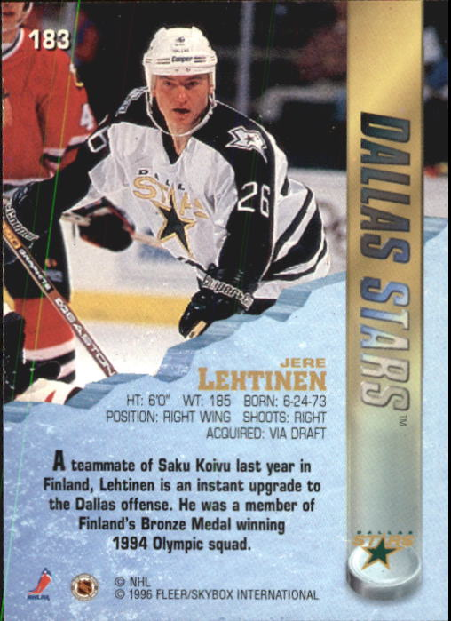 1995-96 Metal #183 Jere Lehtinen back image