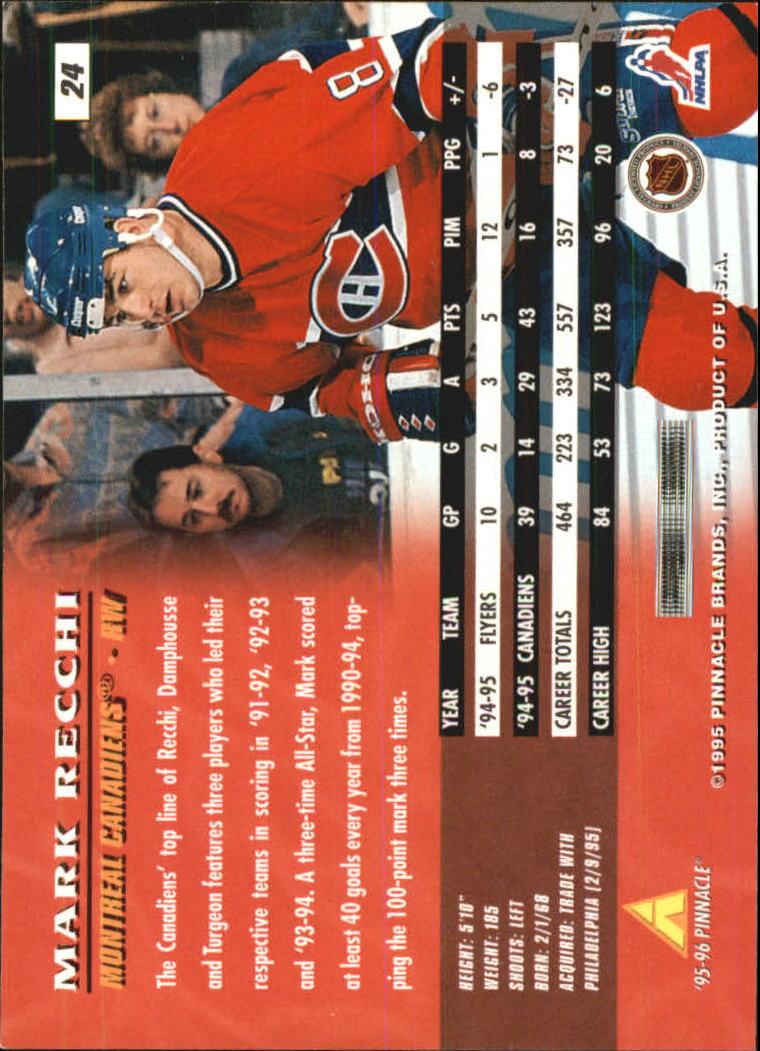 1995-96 Pinnacle #24 Mark Recchi back image