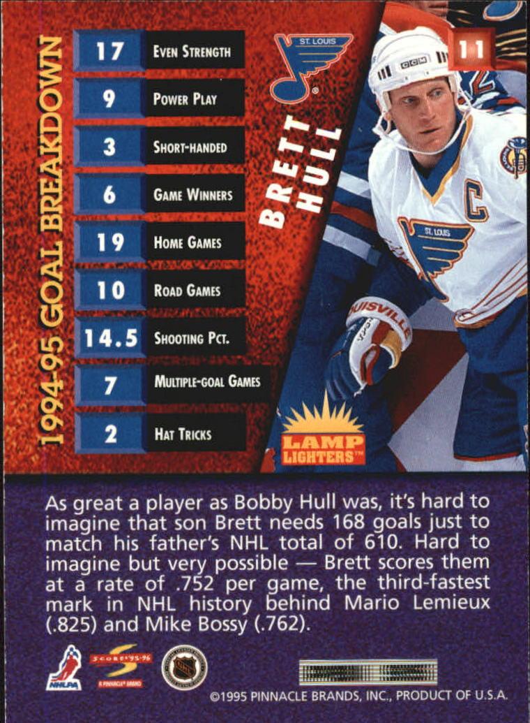 1995-96 Score Lamplighters #11 Brett Hull back image