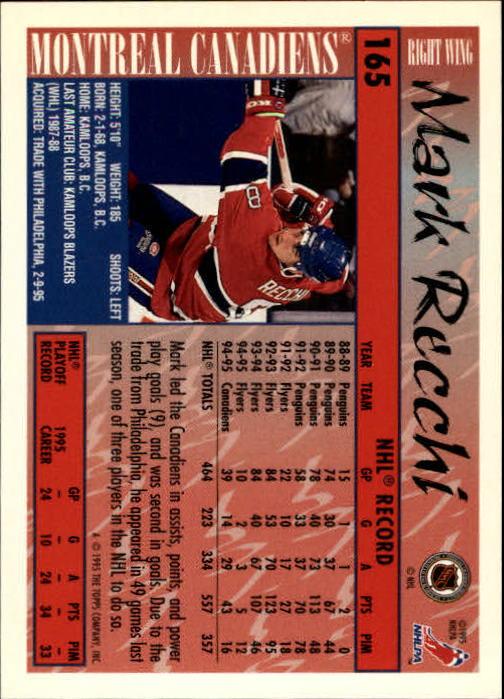 1995-96 Topps #165 Mark Recchi back image