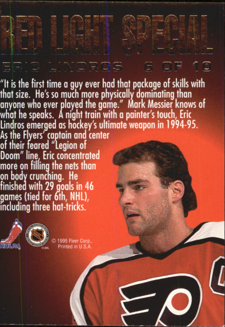 1995-96 Ultra Red Light Specials #6 Eric Lindros back image