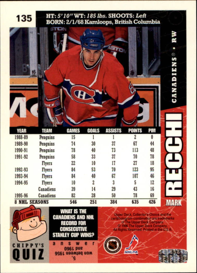 1996-97 Collector's Choice #135 Mark Recchi back image