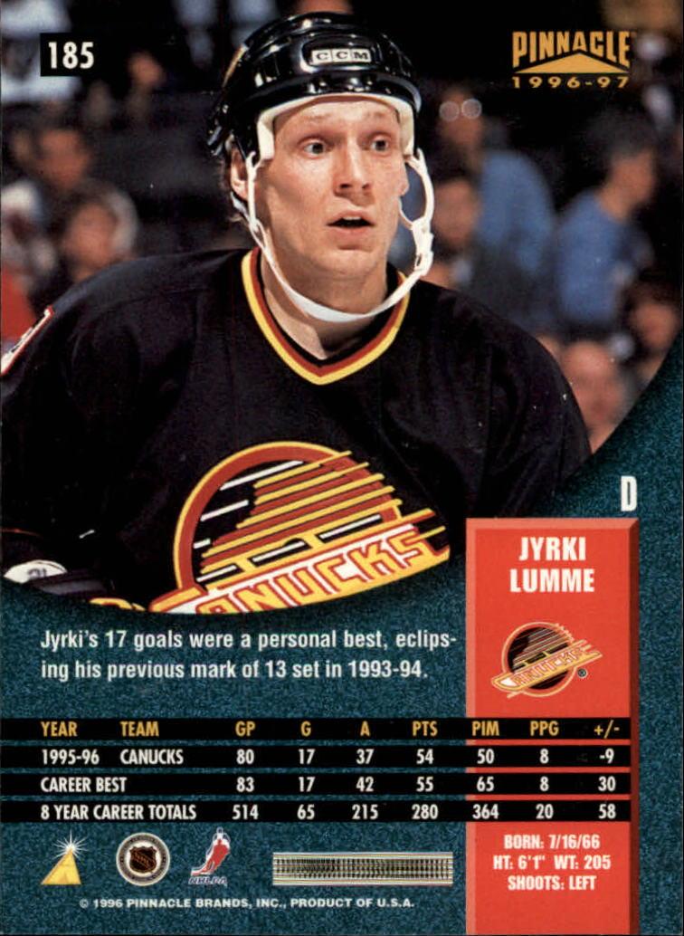 1996-97 Pinnacle #185 Jyrki Lumme back image