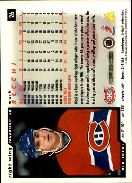 1996-97 Score #26 Mark Recchi back image