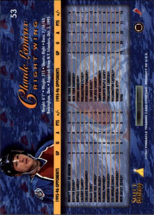 1996-97 Select Certified #53 Claude Lemieux back image