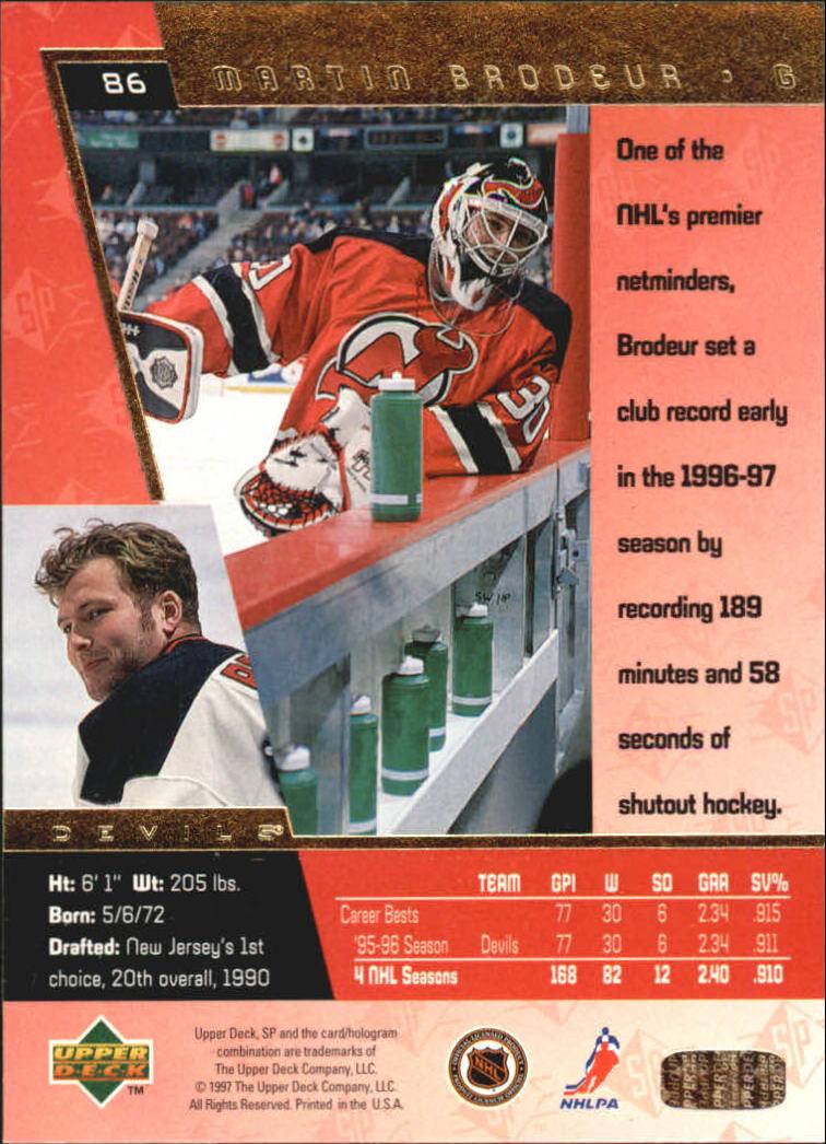 1996-97 SP #86 Martin Brodeur back image