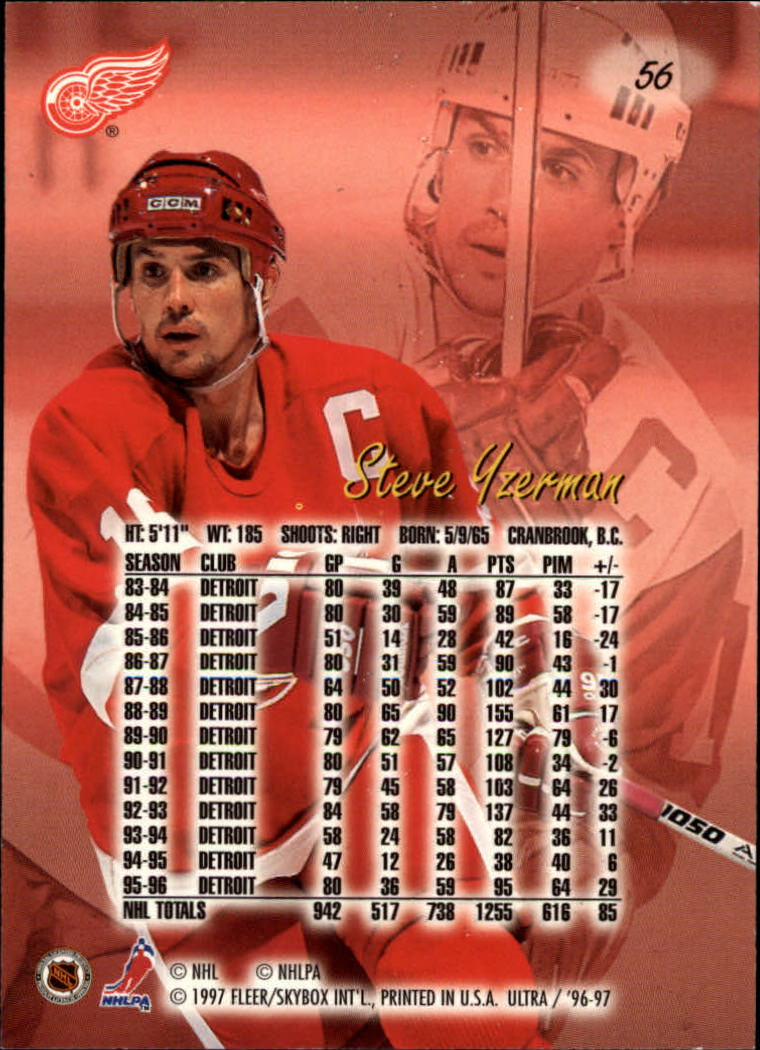 1996-97 Ultra #56 Steve Yzerman back image