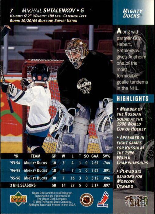 1996-97 Upper Deck #7 Mikhail Shtalenkov back image