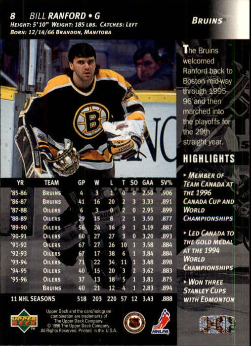 1996-97 Upper Deck #8 Bill Ranford back image
