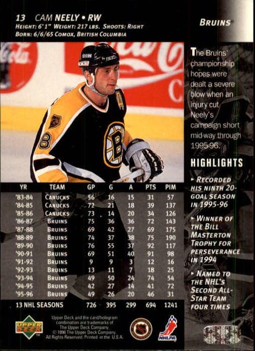 1996-97 Upper Deck #13 Cam Neely back image