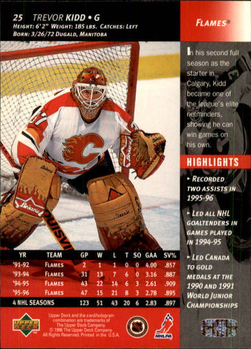 1996-97 Upper Deck #25 Trevor Kidd back image