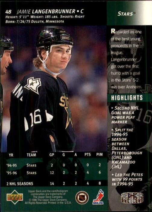 1996-97 Upper Deck #48 Jamie Langenbrunner back image