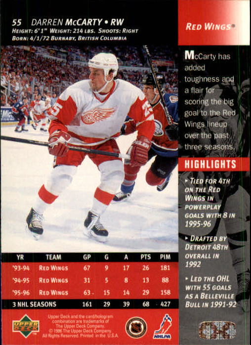 1996-97 Upper Deck #55 Darren McCarty back image
