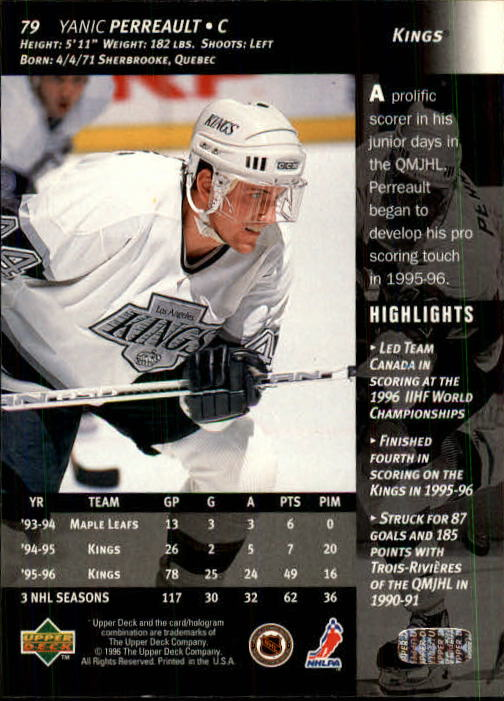 1996-97 Upper Deck #79 Yanic Perreault back image
