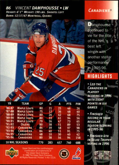 1996-97 Upper Deck #86 Vincent Damphousse back image