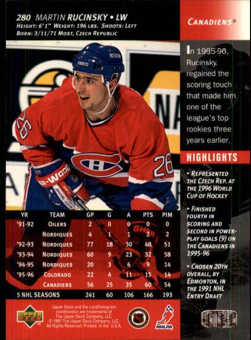 1996-97 Upper Deck #280 Martin Rucinsky back image
