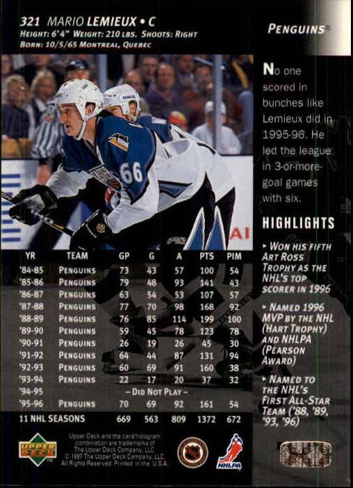 1996-97 Upper Deck #321 Mario Lemieux back image