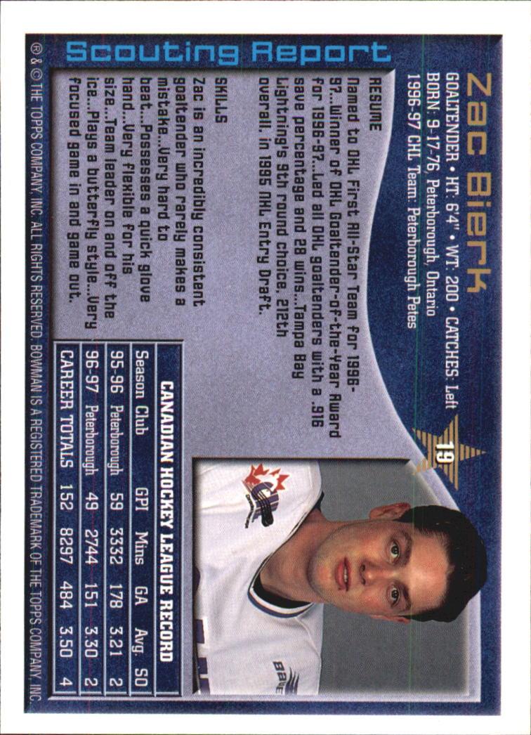 1997 Bowman CHL #19 Zac Bierk back image