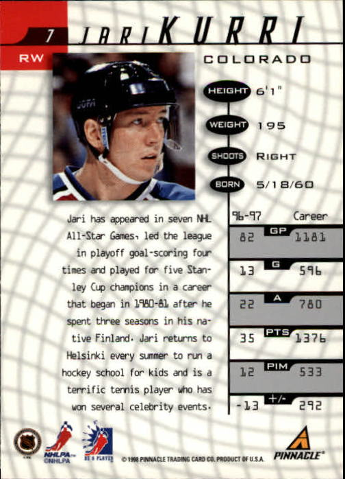 1997-98 Be A Player #7 Jari Kurri back image