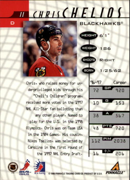 1997-98 Be A Player #11 Chris Chelios back image