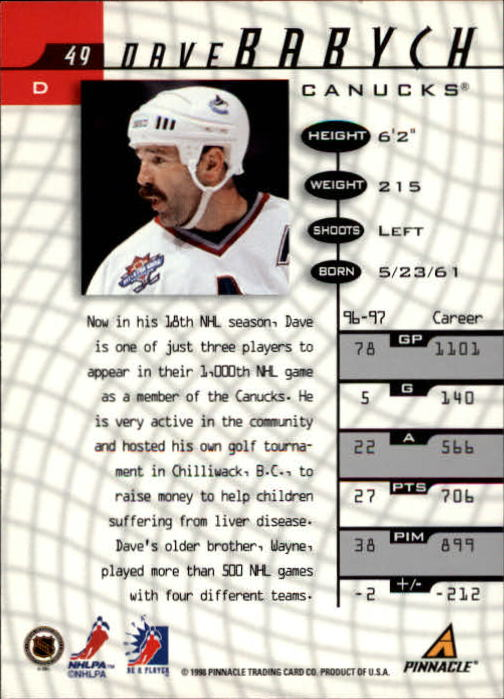 1997-98 Be A Player #49 Dave Babych back image