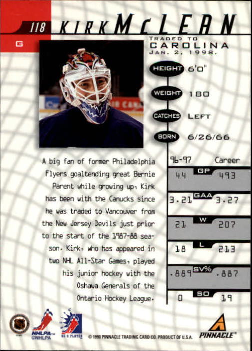 1997-98 Be A Player #118 Kirk McLean back image