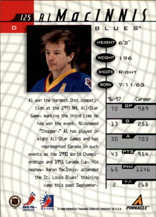 1997-98 Be A Player #125 Al MacInnis back image